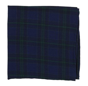 Navy Pittsfield Plaid pocket square