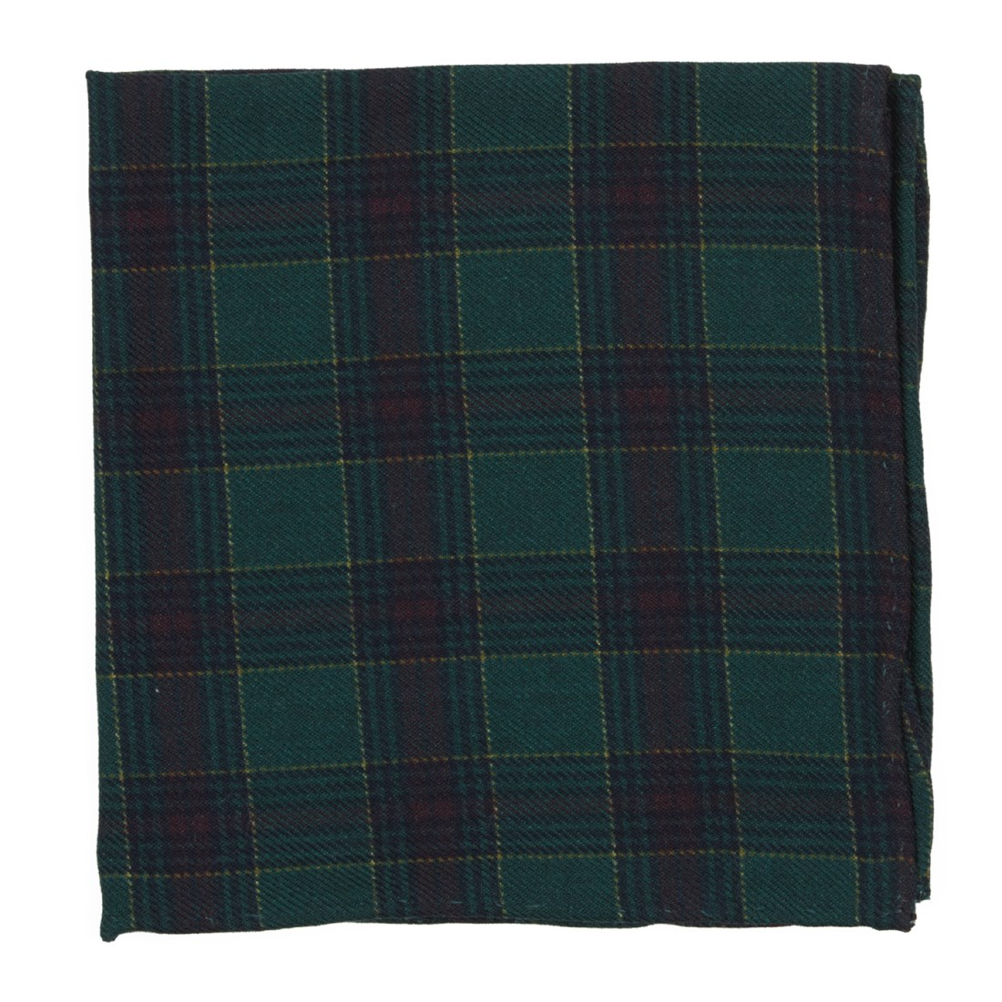 Pittsfield Plaid Pocket Square in Hunter Green