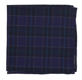 Pittsfield Plaid Eggplant pocket square