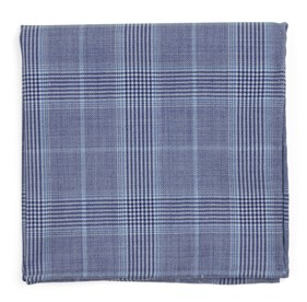 Light Blue Blue Line Plaid pocket square