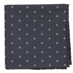dotted hitch grey pocket square