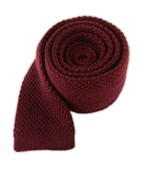 Ties - Knit Solid Wool - Red Wine