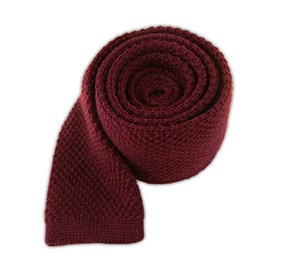 Knit Solid Wool Red Wine Ties