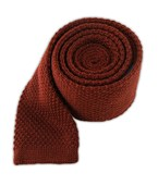 Ties - Knit Solid Wool - Root Beer