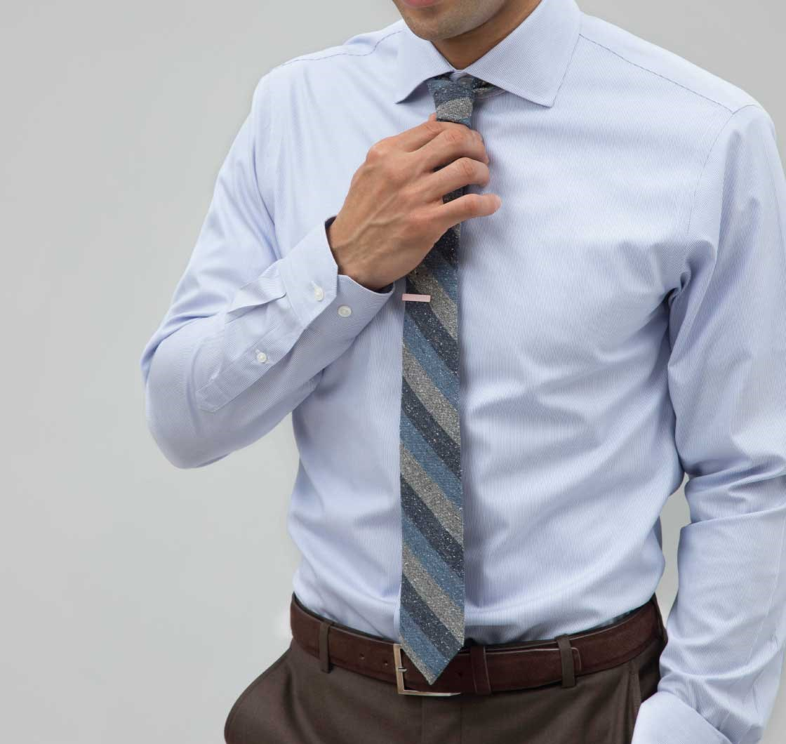 Blue micro stripe shirt ties bow ties and pocket for Striped shirt with tie