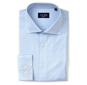 Pinpoint Solid Light Blue Dress Shirt