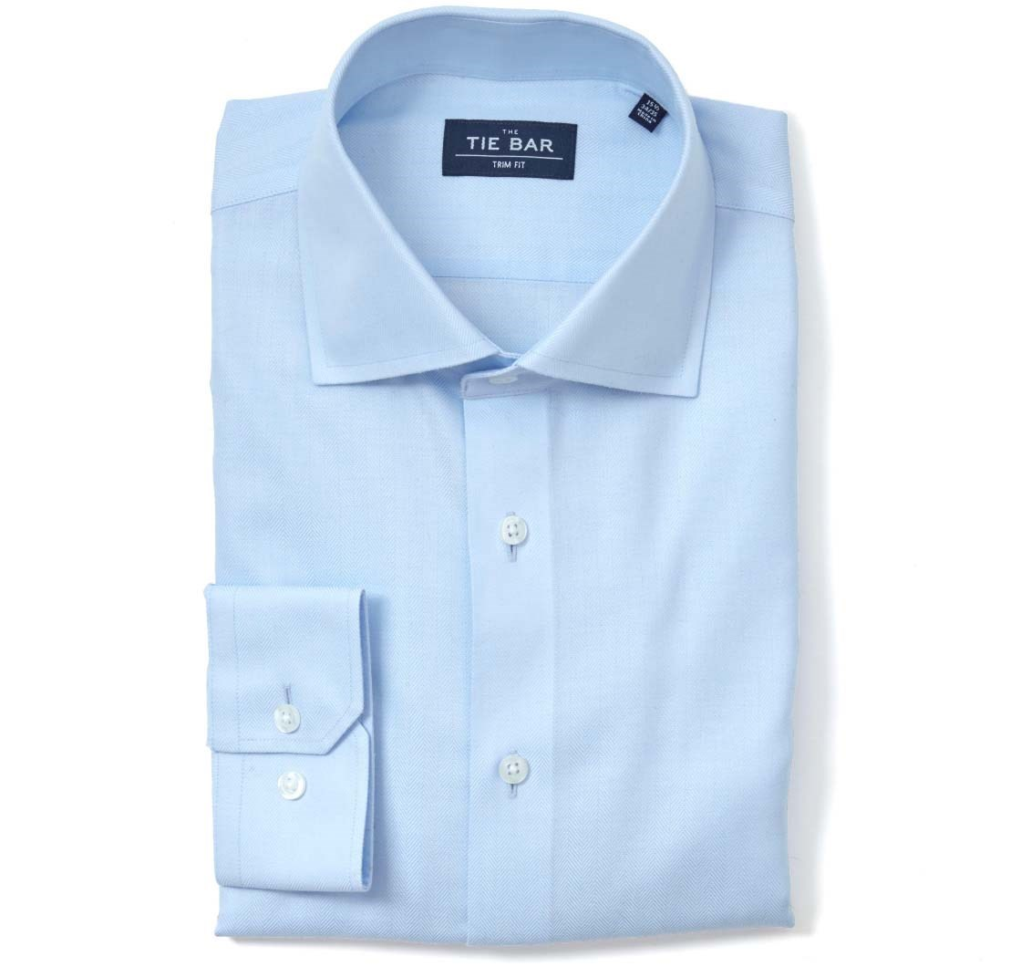 "Herringbone - Light Blue - Standard 14.5"" x 32/33"" - Shirts"