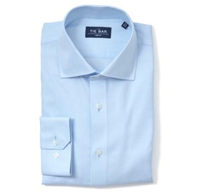 Light Blue Herringbone non-iron dress shirt