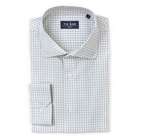 Grey Gingham non-iron dress shirt