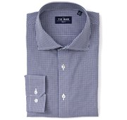 Dress Shirts - Petite Gingham Non-Iron Shirt - Navy