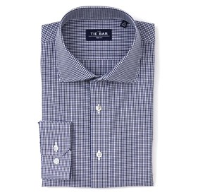 Navy Petite Gingham non-iron dress shirt