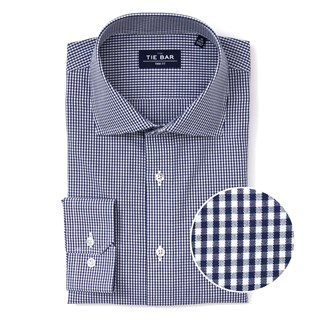 Petite Gingham Navy Non-Iron Dress Shirt