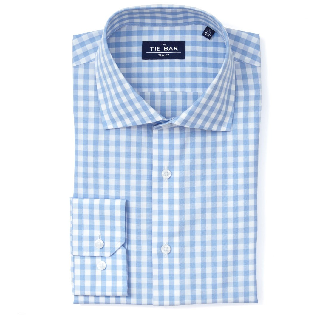 Sky Blue Clic Gingham Non Iron Shirt