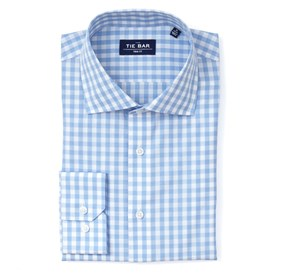 Sky Blue Classic Gingham non-iron dress shirt