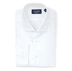 White Pinpoint Solid dress shirt