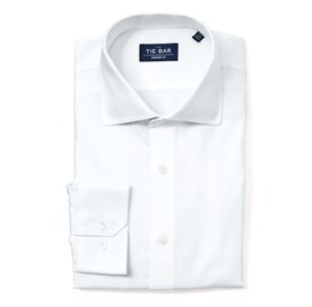 White Herringbone non-iron dress shirt