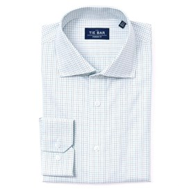 Blue Tattersall non-iron dress shirt