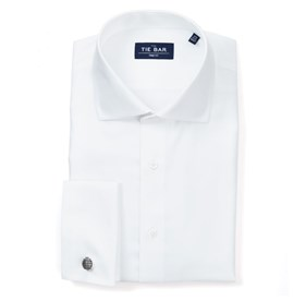 White Herringbone - French Cuff non-iron dress shirt