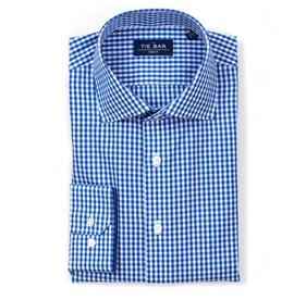 Classic Blue Gingham non-iron dress shirt