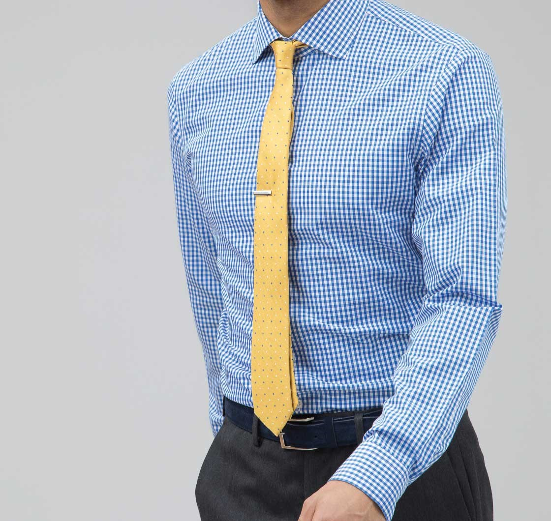 Clic Blue Gingham Non Iron Shirt
