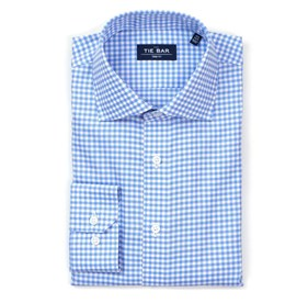 Gingham Textured Blue Dress Shirt