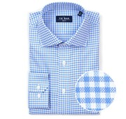 "Gingham Textured (FS) - Blue - Standard 14.5"" x 32/33"" - Shirts"