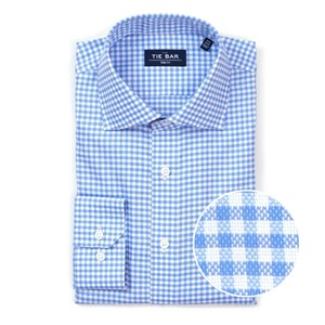 gingham textured blue non-iron dress shirt