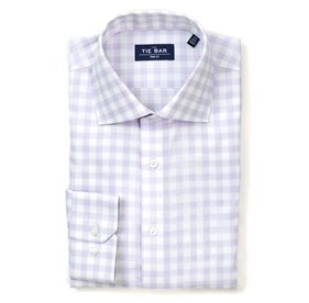 Large Gingham Textured Lavender Dress Shirt