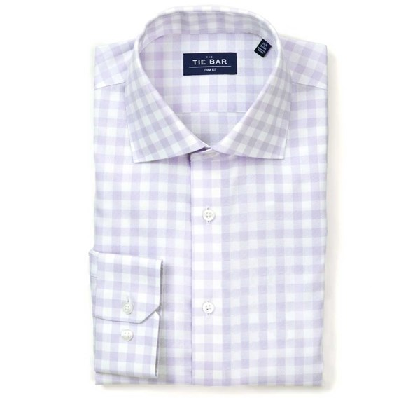 Large Gingham Textured Lavender Non-Iron Shirt