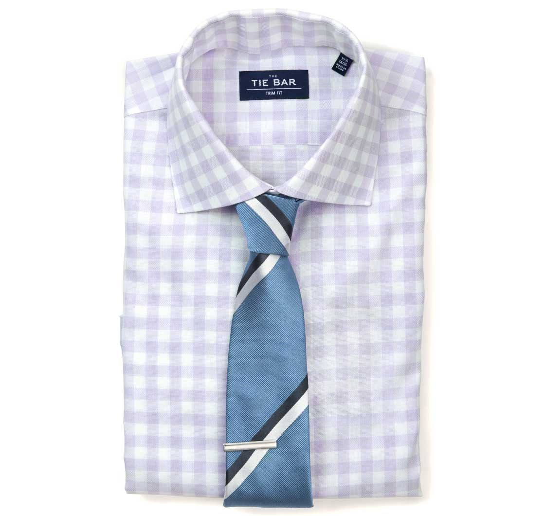 Large Gingham Textured Dress Shirt in Lavender