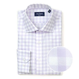 Large Gingham Textured Lavender Non-Iron Dress Shirt