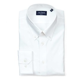 Pinpoint Solid - Button-down Collar White Dress Shirt