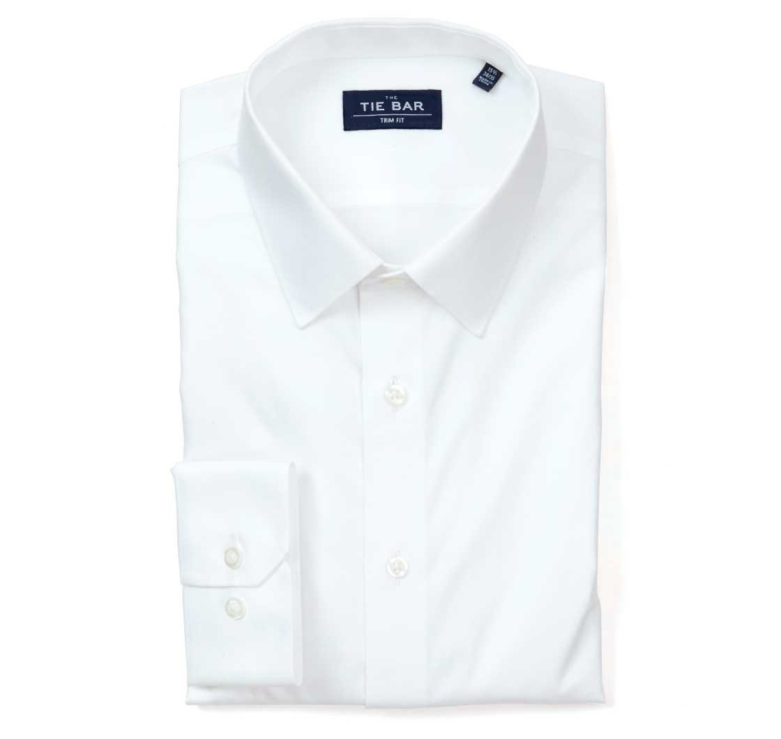White Pinpoint Solid Point Collar Shirt Mens Dress Shirts The
