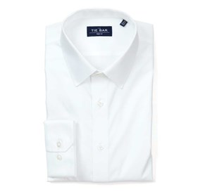 Pinpoint Solid - Point Collar White Dress Shirt