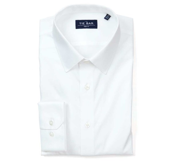 Pinpoint Solid - Point Collar White Non-Iron Shirt