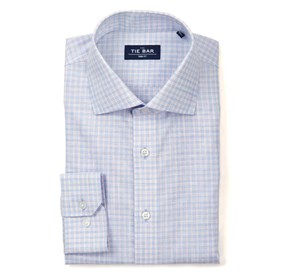 Blue Slub Check non-iron dress shirt