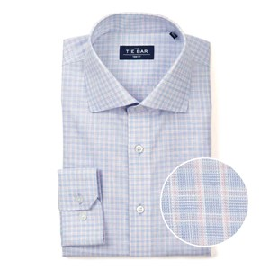 slub check blue non-iron dress shirt