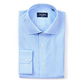 Petite Gingham Sky Blue Dress Shirt