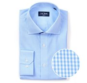 "Petite Gingham - Sky Blue - Trim 15.5"" x 32/33"" - Shirts"