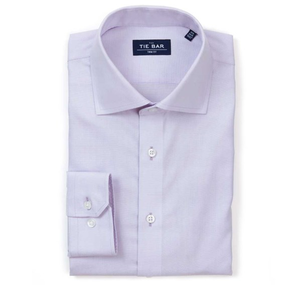 Textured Solid Lavender Non-Iron Shirt