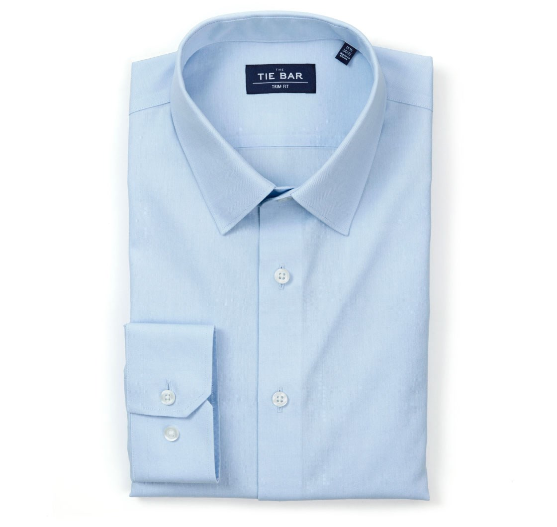 """Pinpoint Solid - Point Collar - Light Blue - Standard 14.5"""" x 32/33"""" - Shirts"""