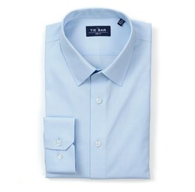 Light Blue Pinpoint Solid - Point Collar non-iron dress shirt