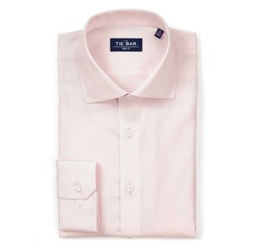 Textured Solid Light Pink Dress Shirt