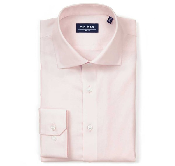 Textured Solid Light Pink Non-Iron Shirt