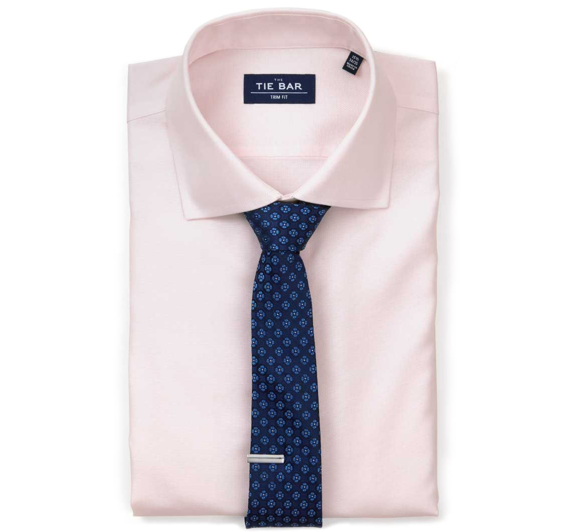 Light Pink Textured Solid Shirt Ties Bow Ties And