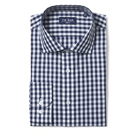 Navy Classic Gingham non-iron dress shirt