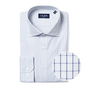 classic check blue non-iron dress shirt