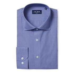 Blue Mini Houndstooth non-iron dress shirt
