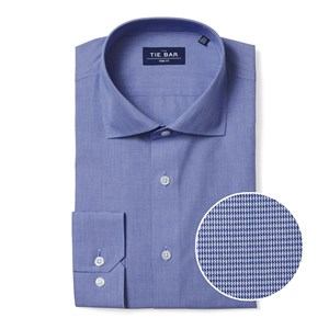 mini houndstooth blue non-iron dress shirt
