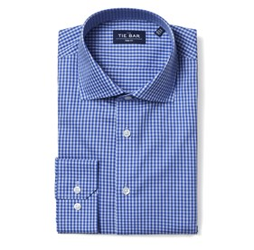 Two Tone Gingham Classic Blue Dress Shirt